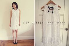 How to make a lace ruffle shift dress. With a DIY sewing pattern!