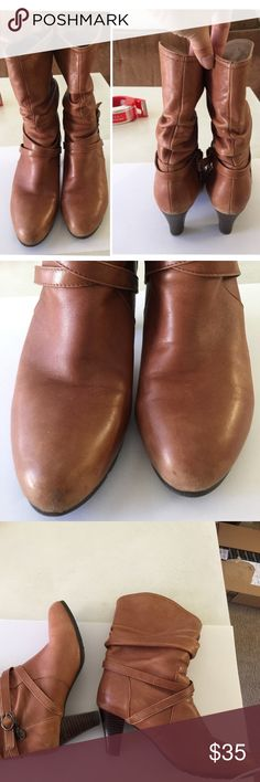 """All leather boots Size 7. All leather, super soft and comfy. Normal wear and tears. Heels:2.75"""" Shoes"""