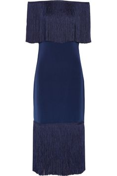 12 Days of Holiday Dresses - Notte by Marchesa Fringe-Trimmed Silk-Crepe Dress