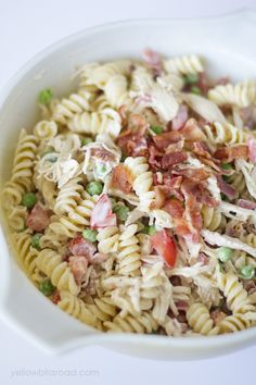 Pasta salad just screams summer to me. So cool and crisp and completely customizable – you can create a big batch as a base and your family can add the toppings they love. This Bacon Ranch Chicken Pasta Salad is a perfect example of a customizable pasta salad! My kids aren't big veggie fans but …