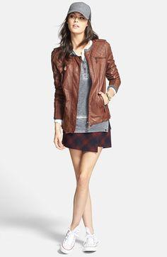 Adorable - Hinge Leather Jacket, Plaid Skort & Treasure&Bond Knit Henley  available at #Nordstrom