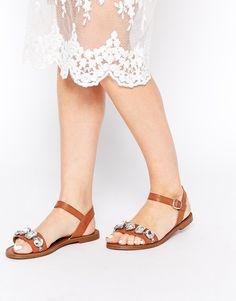 London Rebel Jewel Strap Flat Sandals