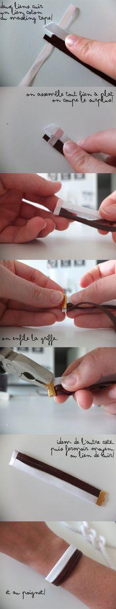 Homemade Navy Bangles °° Tuto Bracelet Cuir x Coton °° www.kutchetcouture.com