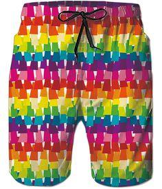 Mens 3D Printed Coloful Graffiti Funny Swim Trunks Quick Dry Beachwear Sports Running Swim Board Shorts Mesh Lining