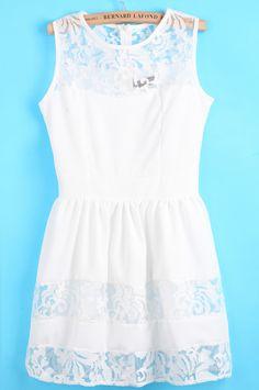 White Contrast Lace Floral Crochet Dress - Sheinside.com