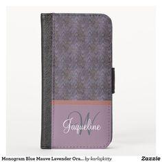 Shop Monogram Blue Mauve Lavender Orange Waves iPhone Wallet Case created by karlajkitty. Electronics Gadgets, Electronics Accessories, New Iphone, Mauve, Custom Design, Lavender, Notebook, Monogram, Orange