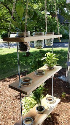 Where to Buy diy hanging mason jar wooden planter - garden crafts, green plants Mason Jar Garden, Mason Jar Planter, Hanging Mason Jars, Small Mason Jars, Diy Hanging, Wooden Planters, Wooden Garden, Diy Planters, Planter Garden