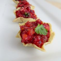 Festive Cranberry Salsa Cranberry salsa is perfect for the Christmas season. Add salsa on a log of goats cheese with some crackers for an elegant and delicious snack.