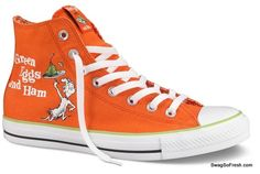 Suess Green Eggs and Ham Converse sneakers. We all love Dr. Suess right? Collectible item from Converse. Red Converse Shoes, Cool Converse, Converse Sneakers, High Top Sneakers, Orange Converse, Men Sneakers, Sock Shoes, Cute Shoes, Me Too Shoes