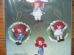 NEW VTG Bucilla 4 RAGGEDY ANN & ANDY Ornaments Christmas NEEDLECRAFT KIT #82282  #Bucilla #ChristmasOrnaments
