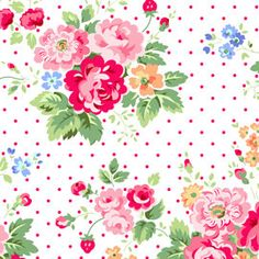 Lakehouse Pam Kitty Love Valentine Fabric Floral Pink Roses Flowers and Red Polka Dots on White. $10.00, via Etsy.