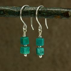 Turquoise Cube Earrings with Sterling Silver, by SandCanyonJewelry on Etsy. #turquoiseearrings