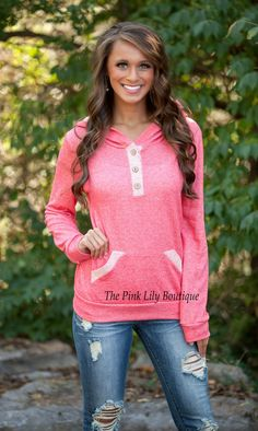 The Pink Lily Boutique - Coral Weekend Hoodie , $34.00 (http://thepinklilyboutique.com/coral-weekend-hoodie/)