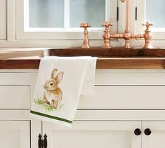 Spring celebrations become more cheerful and festive with our Pasture Bunny kitchen towel. Cloud Craft, Girls Bedroom Furniture, Trellis Pattern, Weaving Process, Traditional Bedroom, White Towels, Interior Design Tips, Kitchen Towels, Pottery Barn