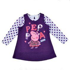 2014 Hot Peppa Pig Suits Girl s Children Suit Long Sleeve Polka Dot T shirt   amp  4fef6cb83a7b