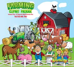Complete Farming Clipart Package 20 Objects-40+ Separate Files. #Farmingclipart
