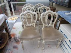 Chairs all done, fabric on chairs were cleaned later in the day. Painted by Margaret Whitcher with old white chalk paint and clear and dark wax.