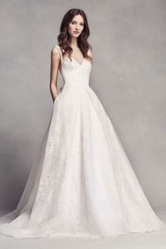 White by Vera Wang Pleated V-Neck Wedding Dress - Davids Bridal