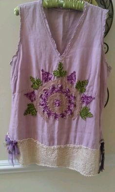 upcycled top - no tutorial - idea of decorating with doilies