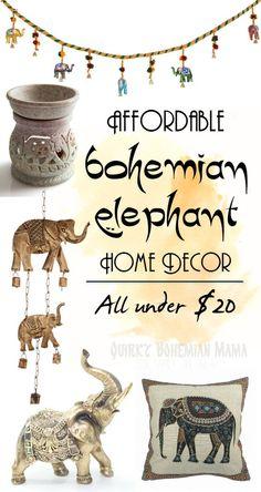 Affordable Bohemian Elephant Home Decor {Boho bohemian hippie home decor under$20} Bohemian home decor. Boho chic decor. Bohemian Interior Design. Indian Elephant home decor. Gifts for elephant lovers. #bohemian