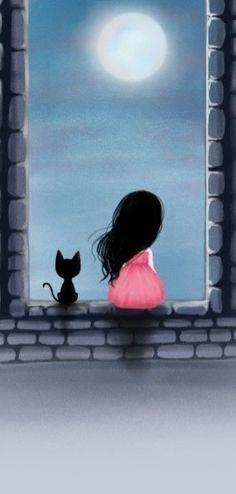 gato y luna dibujo a lapiz - Cerca amb Google