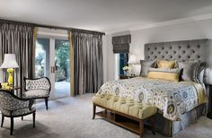 Master bedroom - love the grey, the headboard and the chairs
