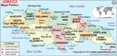 Jamaica Political Map - Laminated W x H) Runaway Bay Jamaica, Jamaica Map, Greater Antilles, Learn Another Language, Island Nations, Montego Bay, Short Trip, Caribbean Sea, Island Life