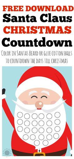 Free Christmas countdown calendar for kids, download FREE PRINTABLE and count down the days on Santas Beard
