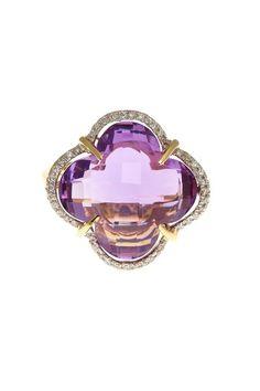 Bo Gassi 14K Yellow Gold Amethyst & Diamond Clover Ring