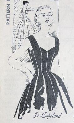 1950s JO COPELAND EVENING COCKTAIL DRESS PATTERN PRINCESS DESIGN STRIKING STYLE  SPADEA AMERICAN DESIGNER 1209