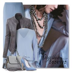 """""""Baby Blue & Grey - perfect color combo"""" by breathing-style ❤ liked on Polyvore featuring P.A.R.O.S.H., LE3NO and River Island"""