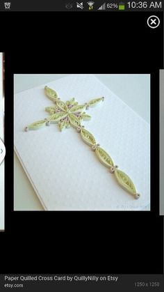 Quilled cross for sympathy card