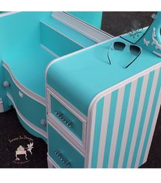 Turquoise and White Striped Tiffany Vanity Makeover by Tamara Lee Designs - DIY Painted Furniture Makeover Ideas Furniture Update, Diy Furniture Projects, Funky Furniture, Repurposed Furniture, Furniture Makeover, Painted Furniture, Painted Dressers, Distressed Furniture, Diy Projects