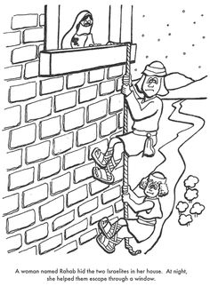 """Rahab.  Have the kids sponge paint a brick wall on construction paper.  Color and cut out the spy figures.  Glue twine (""""rope"""") down the brick wall and make it look like the figures are climbing down."""