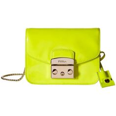 Furla Metropolis Mini Crossbody (Jade Fluo) Cross Body Handbags ($348) ❤ liked on Polyvore featuring bags, handbags, shoulder bags, chain strap purse, shoulder strap handbags, crossbody purse, crossbody shoulder bags and purse shoulder bag