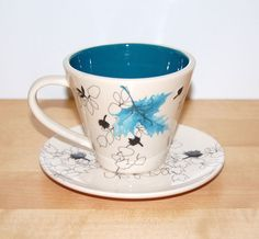 Starbucks Coffee Cup & Saucer Autumn Leaves Blue Black Mug Size 10 oz 296 mL   #StarbucksCoffeeCompany