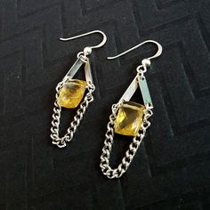 Stainless Steel Square CITRINE Stone Earrings