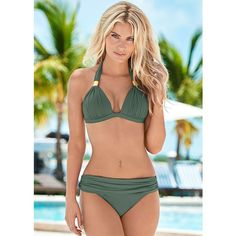Venus Women's Goddess Enhancer Push Up Push-Up Bikini Tops (€33) ❤ liked on Polyvore featuring swimwear, bikinis, bikini tops, green, venus swimwear, push up triangle bikini, green bikini top, triangle bikinis and green push up bikini