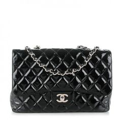 This is an authenticCHANEL Distressed Patent Quilted Jumbo Single Flap in Black. This chic shoulder bag is crafted of diamond quilted distressed patent leather in the larger size.