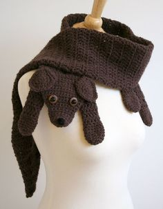Crochet Pattern for Puppy Love Scarf - Animal Pet DIY Fashion Tutorial Winter Fall Autumn.