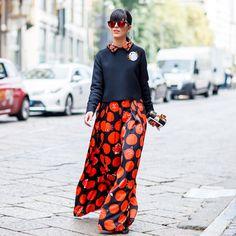 Laura Comolli wearing Giulia Rositani during Milan Fashion Week Sept 17, 2014. Black & orange outfit.