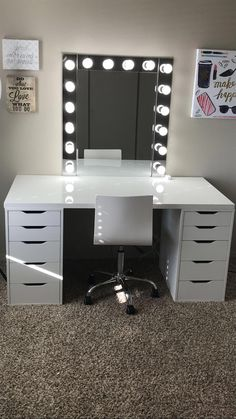 Make-up room inspiration! I love this vanity in my makeup room! Ikea Alex drawers make-up room inspiration! I love this vanity in my makeup room! Ikea Alex drawers Source b Ikea Inspiration, Design Inspiration, Design Ideas, Bedroom Inspiration, Makeup Inspiration, Makeup Room Decor, Makeup Rooms, Beauty Room Decor, Vanity Room