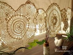 BOHO Vintage Crochet Doilies Shabby French Chic Window Cafe Curtain Lace Cream #handmade #FrenchCountrybohohippie