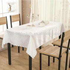 Custom size damask jacquard White wedding rectangular table cloth
