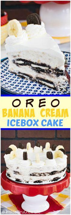 Oreo Banana Cream Icebox Cake - layers of cream filled cookies & no bake cheesecake make this no bake cake a fun treat. Awesome dessert recipe for hot summer days! (no bake chocolate cheesecake icebox cake) Ice Cream Desserts, Frozen Desserts, Fun Desserts, Delicious Desserts, Dessert Recipes, Frozen Treats, No Bake Chocolate Cheesecake, Cheesecake Recipes, Cupcakes