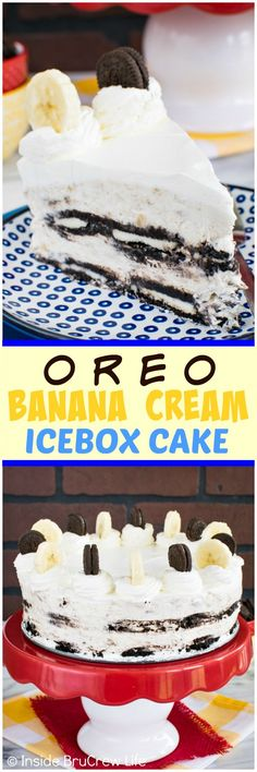 Oreo Banana Cream Icebox Cake - layers of cream filled cookies & no bake cheesecake make this no bake cake a fun treat.  Awesome dessert recipe for hot summer days!