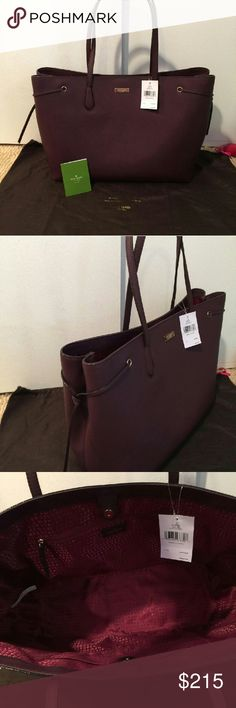 Kate spade large tote Ari laurel way tote BRAND NEW WITH TAGS attached warranty card,dust bag and gift reciept. Stuffing paper is still inside bag but took out to show interior. No flaws. Beautiful grape/burgundy color called MULLED WINE.Very spacious 12H x 18L x 6 W kate spade Bags