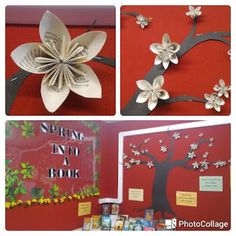 Library Displays: Spring into a Book-origami flowers
