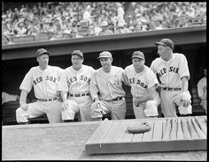 1937 - Boston Red Sox pitcher Lefty Grove, Boston Red Sox manager Joe Cronin, Philadelphia Athletics outfielder Wally Moses, Boston Red Sox first baseman Jimmie Foxx, and Boston Red Sox outfielder Doc Cramer.