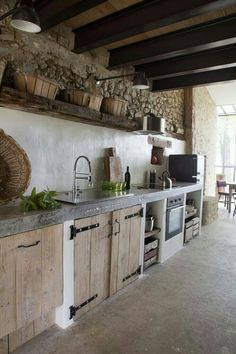 Exposed ceiling, wooden cubbords #KitchenDiningIdeas